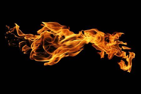 Flammes de feu isolées sur fond noir, mouvement des flammes de feu abstrait Banque d'images