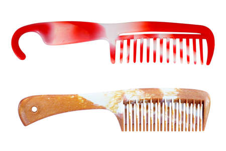 Vintage plastic hair comb isolated on white background