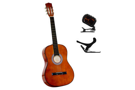 Classical acoustic guitar with Digital guitar tuner, Guitar capo on white background Standard-Bild