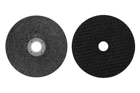 abrasive black discs for grinder machine isolated on white background Stockfoto