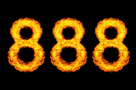 Number 888, eight hundred eighty eight made from fire flame isolated on black background