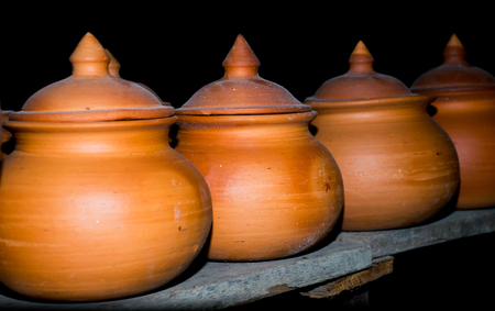 kitchen ware: Closed up of clay pot Stock Photo
