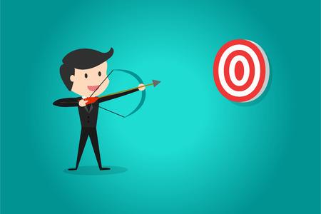 目指して成功したビジネスマンは弓と矢で目標で撮影する対象を決めることができます。  イラスト・ベクター素材
