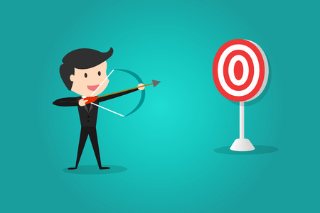 A successful businessman aiming target with bow and arrowCan decide which target to shoot at.