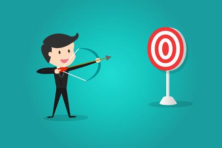 Un homme d'affaires prospère viser la cible avec l'arc et la flèche / Peut décider à quelle cible tirer. Banque d'images - 83391376