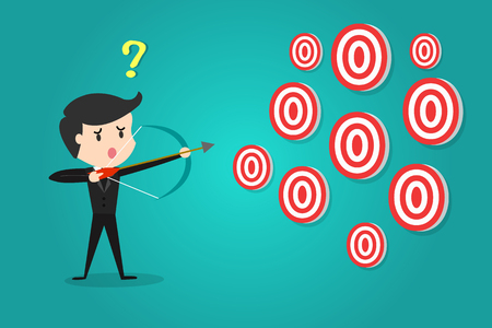 A businessman aiming target with bow and arrow/Can not decide which target to shoot at.