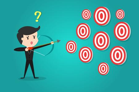 Un hombre de negocios que apunta objetivo con arco y flecha / No puede decidir a qué objetivo disparar. Ilustración de vector