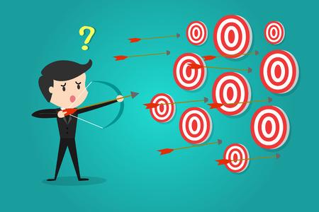 Een succesvolle zakenman gericht doelwit met pijl en boog / Kan niet beslissen op welk doel te schieten.