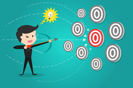 A successful businessman aiming target with bow and arrow/Can decide which target to shoot at.