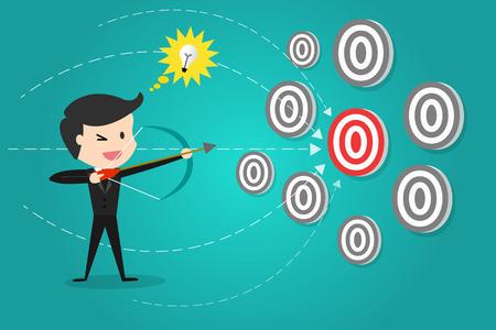 Un hombre de negocios exitoso objetivo blanco con arco y flecha / Puede decidir a qué objetivo disparar.