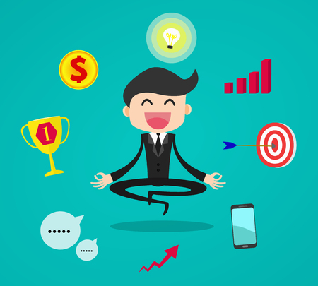 smart goals: Businessman thinking and getting ideas to success business during meditation, cartoon flat vector background