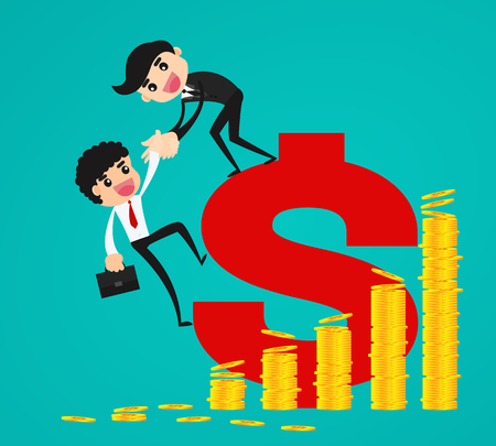 Helping Hand. Businessman helps his partner to climb a dollar sign. Concept business vector illustration.