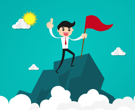 Success and achievement concept.businessman with flag on mountain top . Illustration