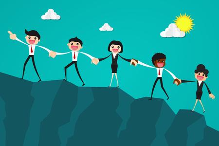 Geschäftsleute, die zusammen versuchen, den Berg hochzuklettern, halten einander Hände. Geschäftsteamwork-Konzept.