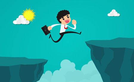 businessman running and jumping through the gap between the cliff.Concept of business risk and success