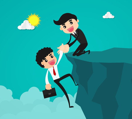 teamwork cartoon: businessman helping his partner to climbing the cliff