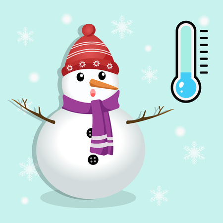 very cold: Snowman and thermometer.Winter season very cold concept.