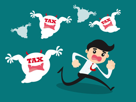 costs: Illustration of businessman afraid to many tax monster Illustration