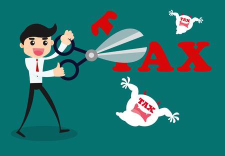 Tax Deduction. Business Concept. Vector Cartoon Illustration.