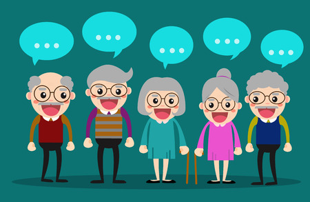 Old people meeting and talking together elderly society vector illustration concept Çizim