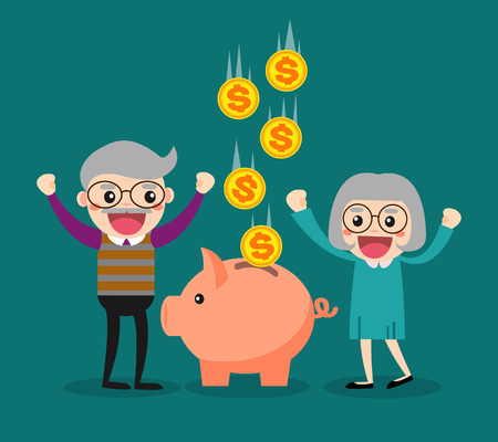 rich couple: Old people keep their savings in the piggy bank