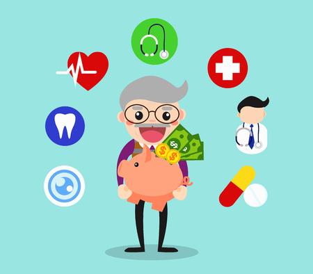 노인 절감 자신의 돈을 건강 관리 지출  노인 벡터 그림은 개념. 일러스트