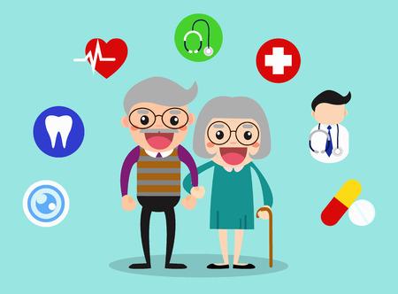 Gelukkige grootouders gezondheidszorg met gezondheid iconen  ouderdom gezonde vector illustratie concept.