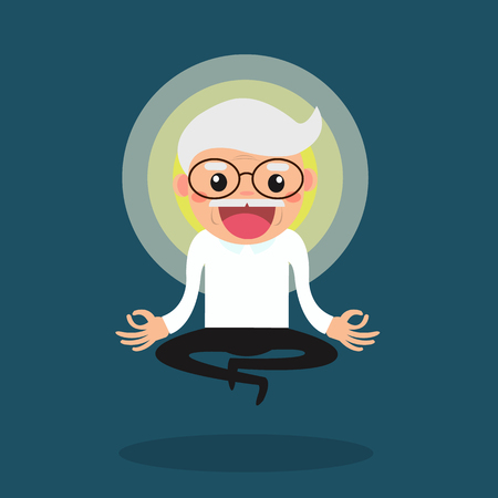 Meditating senior. Cute cartoon old people sitting in meditation and getting ideas. Healthy lifestyle and mindfulness illustration.