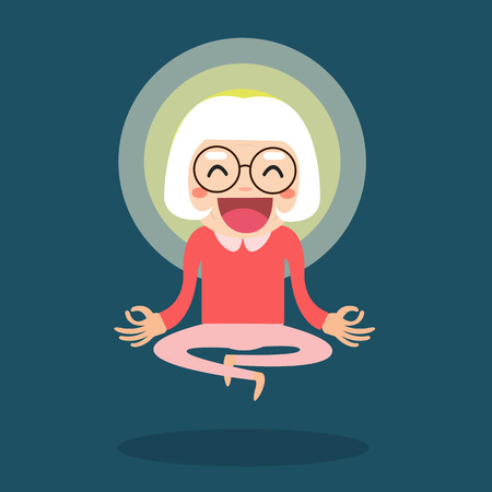 Meditating senior. Cute cartoon old people sitting in meditation. Healthy lifestyle and mindfulness vector illustration.