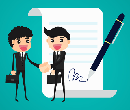 signing: Agreement. Business people shaking hand in front of a signed contract. Concept business vector illustration Illustration