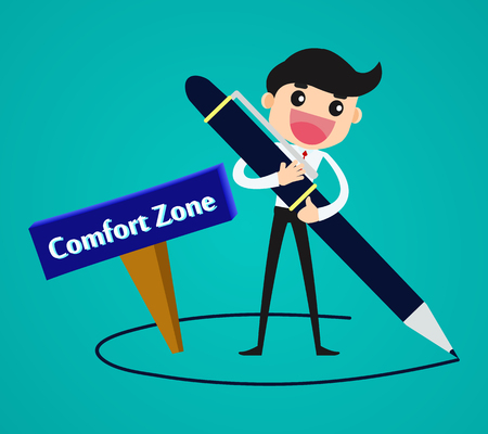Businessman drawing his comfort zone business concept vector illustration. Illustration