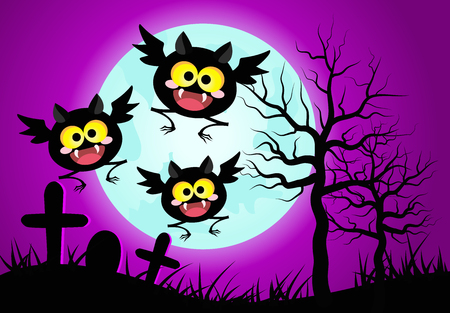 Halloween concept vector illustration.Happy bats with blue full moon background.