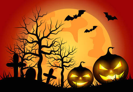 Halloween pumpkins with orange Moon background.vector illustration. Illustration