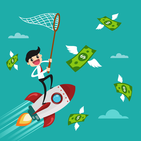 Businessman trying to catch money. Business concept vector illustration. Vectores