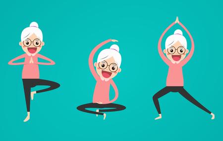 Senior yoga poses set. Relax and meditate. Healthy lifestyle. Balance training.