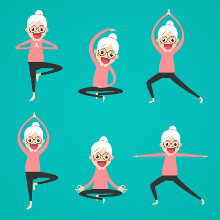 Senior yoga poses set. Relax and meditate. Healthy lifestyle. Balance training.