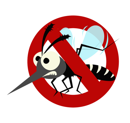 Mosquito prohibited warning sign isolated on white background. Иллюстрация