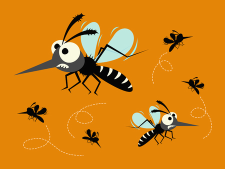mosquito set isolated on orange background. Çizim