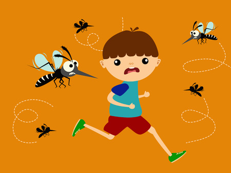 Children running out of mosquito hunting group illustration.
