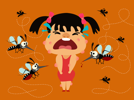 Dengue fever. girl crying becaues many of mosquito biting her body.