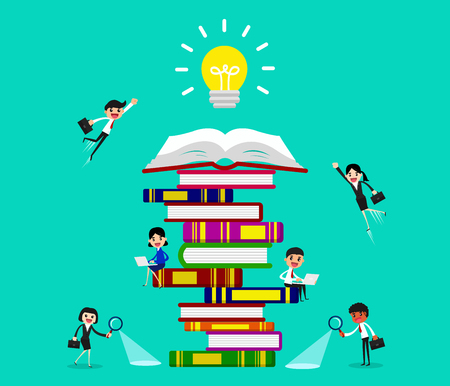 People and book. Business people learning and getting knowledge to success. vector illustration.