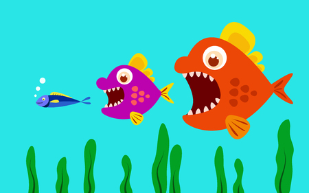 big fish eat little fish. vector illustration. Çizim