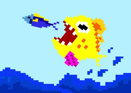 big fish eat little fish. pixel art vector illustration.