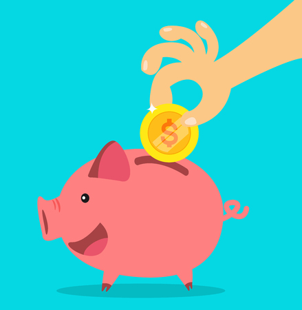 piggy bank. money saving concept. vector illustration. Illustration