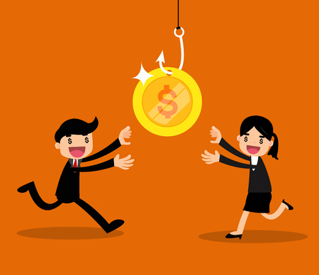 Greedy businessman and business woman running to money on hook trap. vector illustration.
