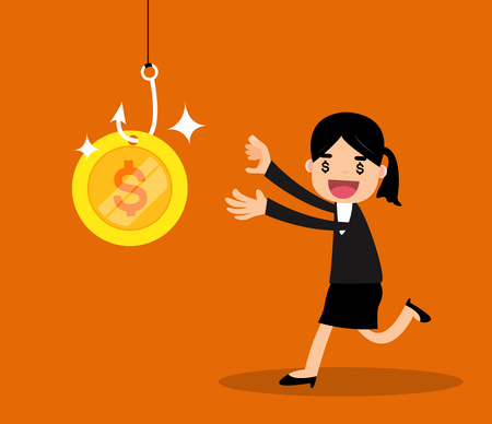Greedy business woman running to money on hook trap. vector illustration.