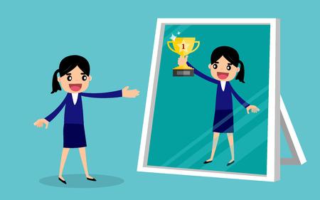 Zakenvrouw zoekt zichzelf succesvol in een spiegelbezinning. bedrijfsconcept. Vector Illustratie