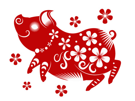 Happy chinese new year 2019. Year of the pig. vector illustration. Stok Fotoğraf - 103049905