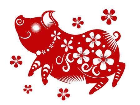 Szczęśliwego chińskiego nowego roku 2019. Rok świni. ilustracji wektorowych.