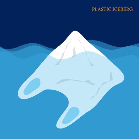 Plastic iceberg on the sea. Plastic pollution concept. vector illustration.